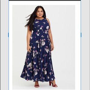 Torrid 20 Navy Floral Georgette Maxi Dress